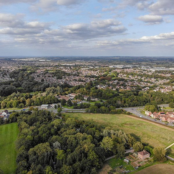 Aerial view of south Swindon, Wiltshire