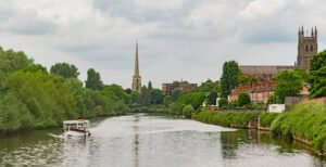 View of the river Severn in Worcester, England, with cathedral in background
